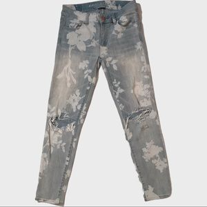 American Eagle Outfitters paisley distressed jeans